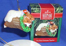 Hallmark Ornament Our First Christmas Together 1990 Fox Foxes in Log NIB