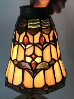 """Vtg Slag Stained Glass Lamp Shade Arts Crafts Mission Pendant Torchiere 2""""Fitter"""
