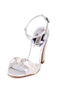Badgley Mischka $225 JEWELED White Heel Open Toe Pump Jeweled rhinestone Wedding