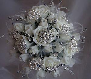 Brides Diamante & Pearl Ivory roses,  Brooch Vintage Posy Wedding Bouquet