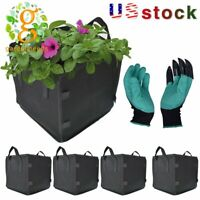 NEW 5Pack Square Grow Bags Thick Fabric Planting Pots with Handles Garden gloves