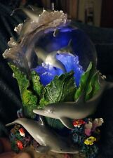Dolphin Ocean Sea Floor Lit Globe & Glitter Music Box plays Swan Lake perfectly