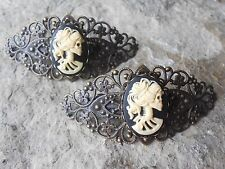 PAIR OF SKELETON LADY CAMEO BRONZE FILIGREE BARRETTES- VICTORIAN, STEAMPUNK,GOTH