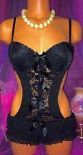 Black Sheer Underwire Padded Mesh Lace Bodysuit Romper Jumper Teddy 34b