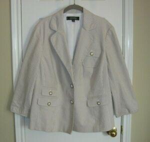 KASPER ~ Taupe & White Seersucker Blazer Jacket ~ SZ 18W