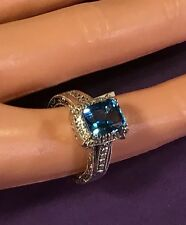 BEAUTIFUL BLUE TOPAZ AND DIAMOND RING SET IN 14k WHITE GOLD - SIZE 6 - NWT $1800