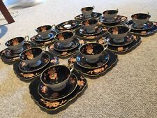 Antique Royal Bayreuth Kgl Priv Tettau Black China Tea Luncheon Service 12 Flowe