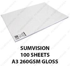 50 Sheets A3 Plain White Premium Gloss Glossy Photo Paper 260gsm High Quality