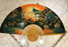 """Large 59.5"""" Vintage Asian Hand Painted Fabric Wall Fan Cranes Mountain Waterfall"""