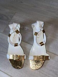 Original Sergio Rossi Sandalen, wenig getragen, NP 420€, Gr. 37, weiss/gold
