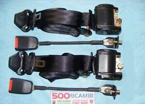 FIAT 500 F/L/R 126 CINTURE DI SICUREZZA ANTERIORI NERE CON ARROTOLATORE 3 PUNTI