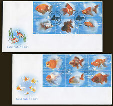 LAOS 1er Jour N°1465/1476 Poissons rouges (2env), 2002 Goldfish on 2 FDC