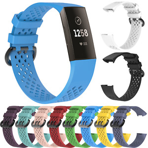 For Fitbit Charge 3 4 Strap Sports Replacement Wristband Silicone Buckle Band