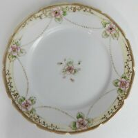 """Nippon Porcelain Dinner Plate Hand Painted Gilded Moriage Floral 8.75"""""""