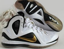 NIKE LEBRON 9 P.S ELITE JAMES HOME WHITE-GOLD-BLACK SZ 10 [516958-100]