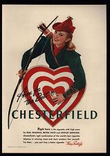 1941 Pretty Woman Archer Smokes Chesterfield Cigarettes - Bow & Arrow Vintage Ad
