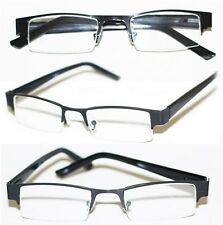 Reading Glasses BRUSHED METAL SLEEK Bottomless BLACK Frame Narrow Lens +1.25