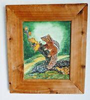 Original Chipmunk Squirrel Wildlife Fall Painting Signed L. Speer Framed 15 X 13