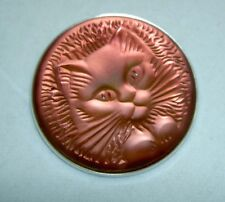 RARE Authentic LALIQUE Cat Chat Satin Red Crystal Pin Brooch in Pouch
