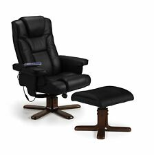 Julian Bowen Malm Electric Heat Massage Manual Recliner Stool Black Faux Leather