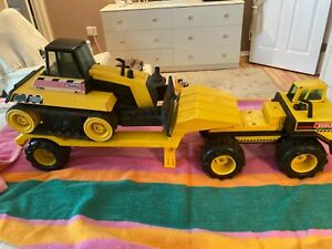 VINTAGE TONKA MIGHTY DIESEL LOW BOY TRACTOR TRAILER WITH 738 BULLDOZER