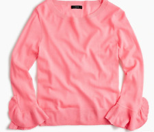 NWT J.Crew Merino wool PINK Pullover Sweater XS crewneck Ruffle sleeves Fitted