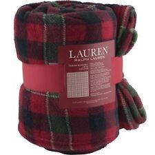"Ralph Lauren Red Plaid Holiday Christmas Fleece Throw Blanket 60"" x 70"" Black"