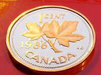 PL BU Nicer Quality  1986 Canada Copper One Cent Piece, Elizabeth II.