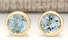 3.00CTW NATURAL AQUAMARINE EARRINGS 14K SOLID YELLOW GOLD