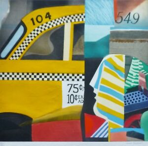 "MAX PAPART ""American Taxi""  HAND SIGNED Original Carborundum Aquatint 42x40 XXL"