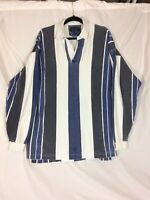 Vintage Britches Great Outdoors XL L/S Polo Shirt Gray Blue White Stripes