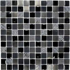 Glasmosaik dunkelgrau/schwarz mix Küche WC Fliesenspiegel Art:WB83-HQ29|1 Matte