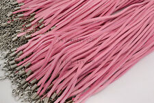 20pcs Pink Suede Leather String Necklace Cord Jewelry Making 47cm DIY FREE