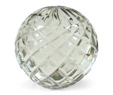 "LARGE HEAVY CRISS CROSS FACETED CLEAR CUT GLASS 4"" PAPERWEIGHT SCULPTURE"