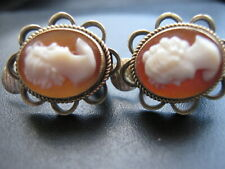 VINTAGE 9 carat 9ct GOLD CAMEO EARRINGS  CLIP ON FOR ALL EARS