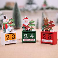 EG_ Christmas Wooden Calendar Decoration Xmas Santa Snowman Desk Ornament Gift H