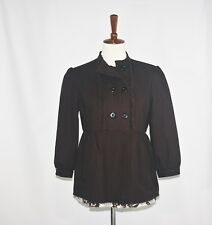 Size 2 fit Small-PaperDenim&Cloth-Women Double Breasted Jacket-Brown-Ruffle-Flor