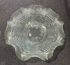 Northwood White Ice Carnival Glass Bowl Grape & Cable