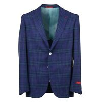 Isaia Blue and Green Layered Check Wool-Silk Sport Coat 38R (Eu 48)