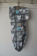 Handmade fabric grocery bag holder storage with flap. grey - blue hearts