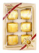 Pyramid Rauch Gold Silver Glitter Barrel Shape Silk Set of 6 Christmas Ornament