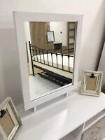 Marina Furniture | Ash White Free Standing Large Dressing Table Desk Mirror