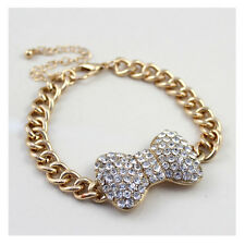 B415 Forever 21 Clear Crystal Gem Ribbon Rhinestone Bow Chain Bracelet US