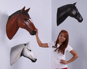 "Brown Stallion Horse Head Wall Decor Plaque 26"" Tall Taxidermy Art Trophy Mount"