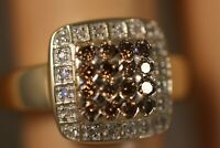 HEAVY WIDE CNA 14K YELLOW GOLD .50CT CHOCOLATE CHAMPAGNE DIAMOND ART DECO RING