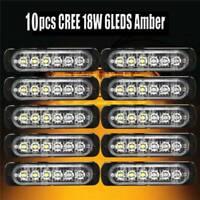 10Pcs Ultra Slim Auto Amber 6-LED Surface Mount Flashing Strobe Light DRL Lamp