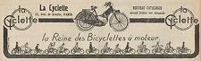 Y7228 La Cyclette la Reine des Bicyclettes à moteur - Pubblicità - 1923 Old ad