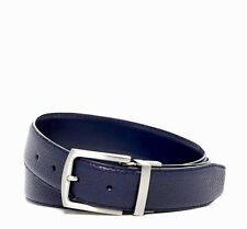 COLE HAAN LEATHER BELT IN NAVY BLUE REVERSIBLE FROM PEBBLE TO SMOOTH LEATHER NEW