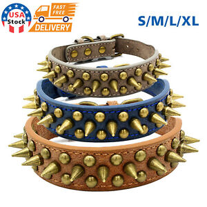 US Retro Studded Spiked Rivet Large Dog Pet Leather Collar Pit Bull S-XL