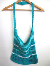 Handmade sweater bag chunky knit crochet purse messenger blue turquoise womens